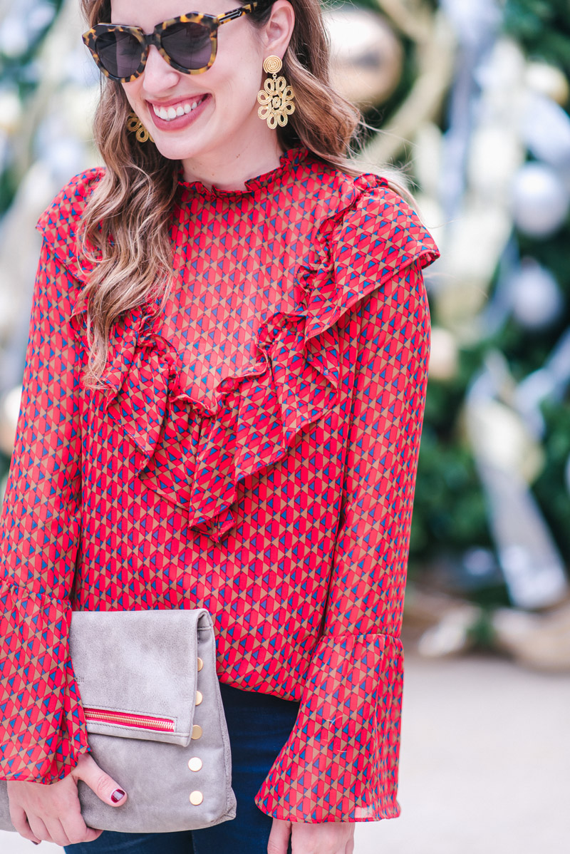 Holiday Outfit Ideas - WAYF Bell Sleeve Ruffle Top, Gold Lisi Lerch Statement Earrings