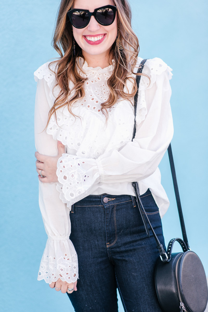 Sharing a dressy/casual look with a Shein White Ruffled Blouse, Dark Denim Jeans & Navy Naturalizer Loafers.