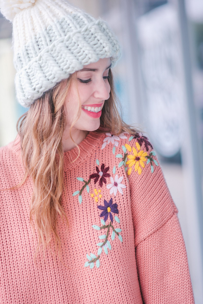 Chicwish Peach Embroidered Sweater