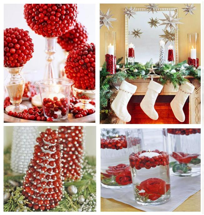 collage cranberry decorations
