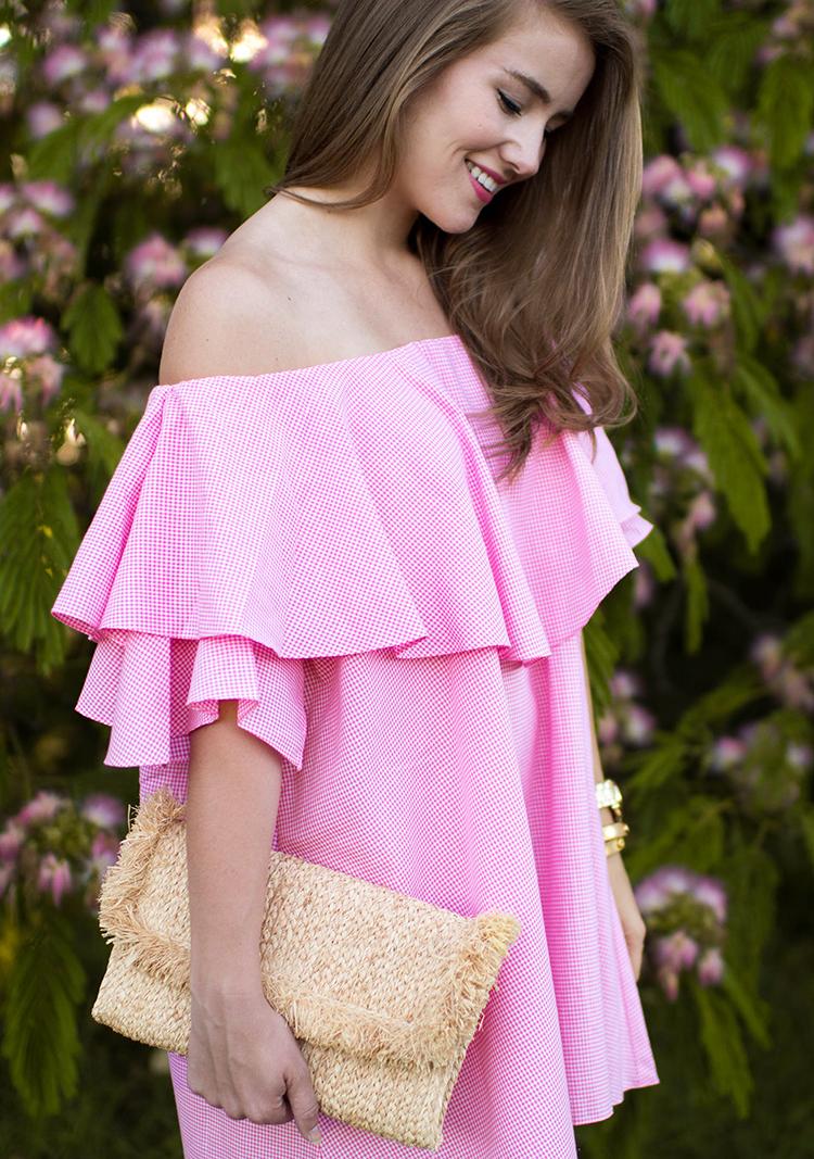 mlm maison off shoulder dress, off the shoulder dress, mlm maison dress pink gingham, pink dress, pink gingham dress, schutz shoes, straw clutch, souther nbelle, off the shoulder dress