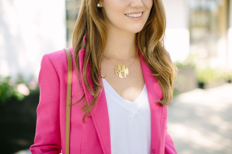 block monogram necklace