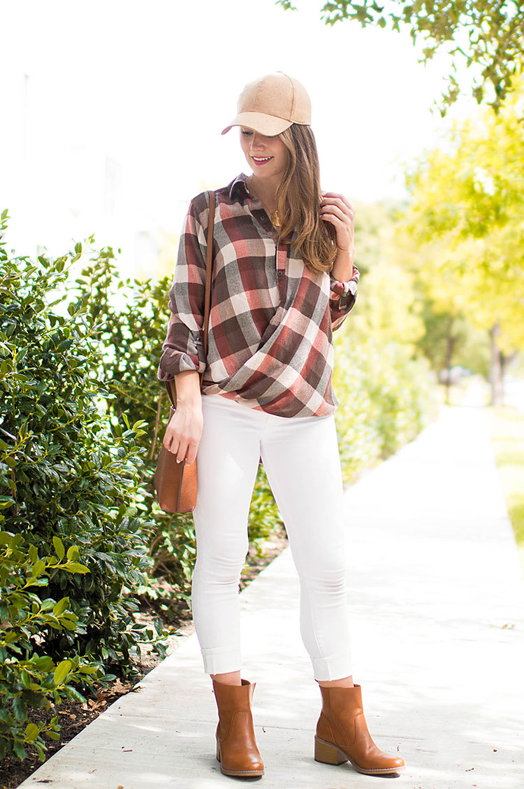 checked wrap top, tan baseball cap, wool baseball cap, white jeans after labor day, white jeans in fall