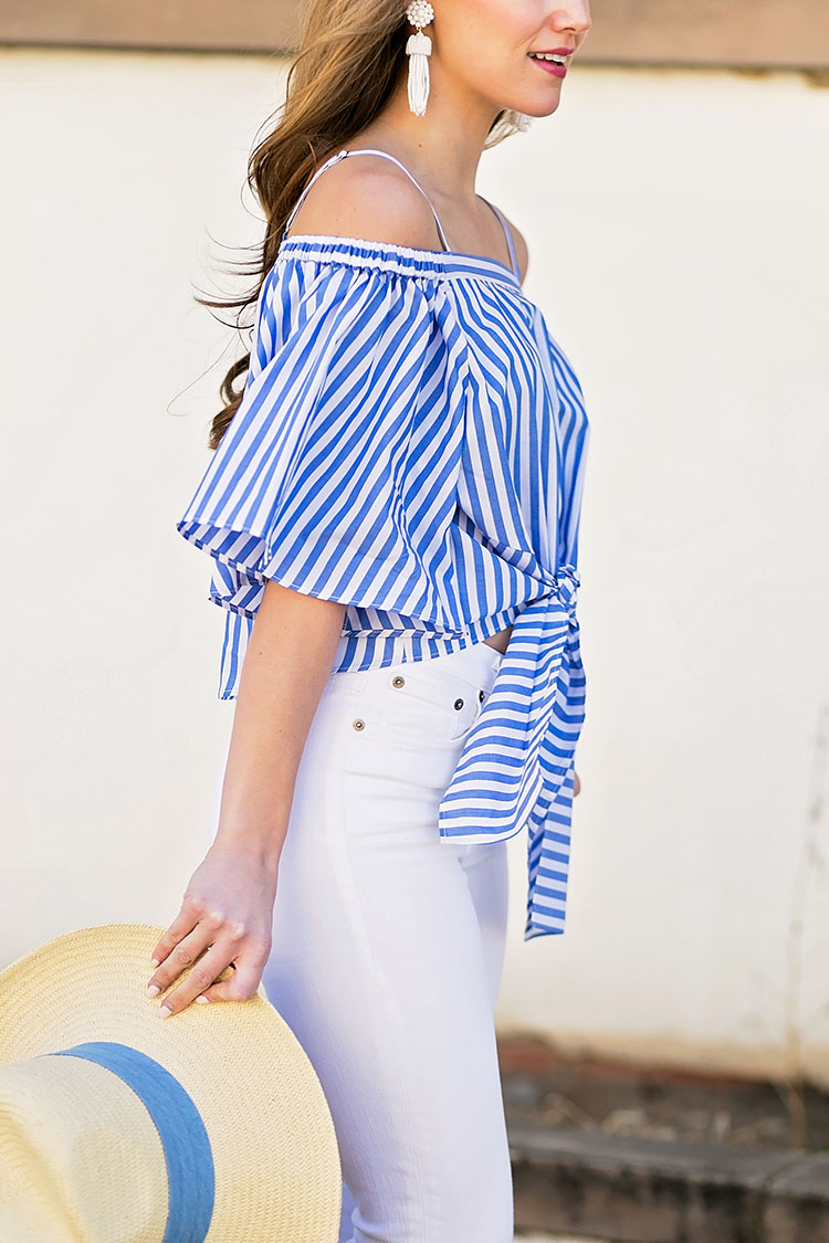 blue and white off the shoulder top