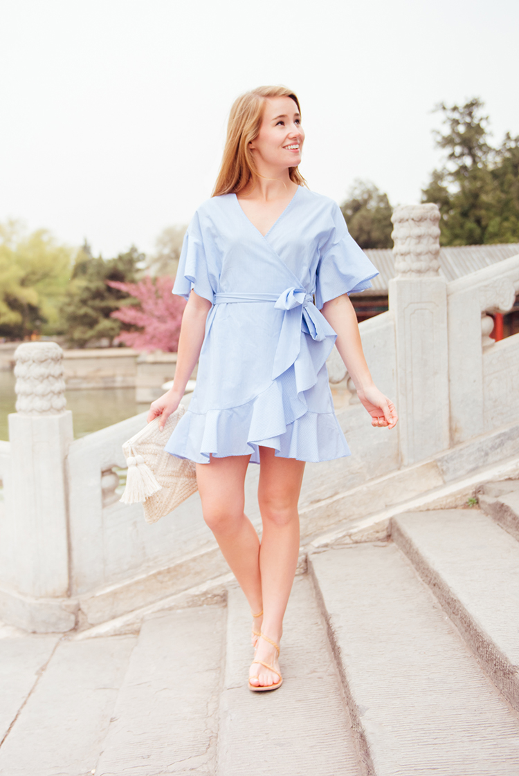 spring dress, blue wrap dress