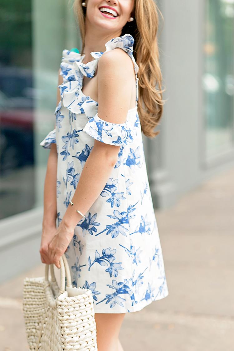 ruffle neckline dress, joa cold shoulder dress