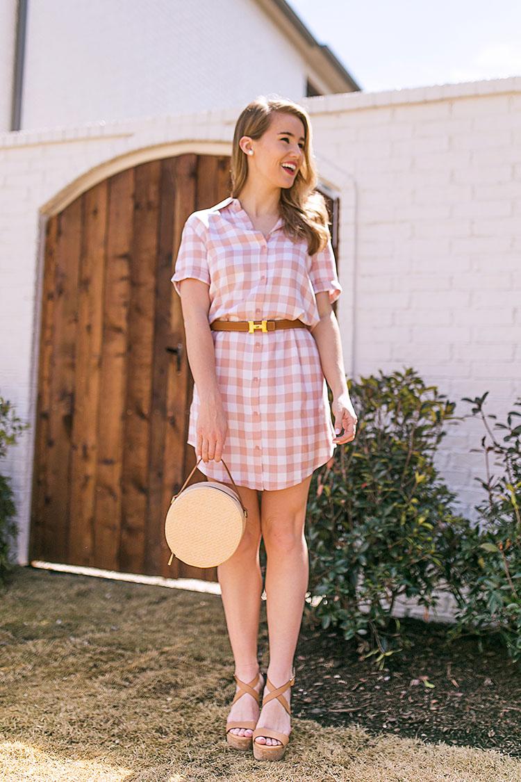 pink gingham shirtdress