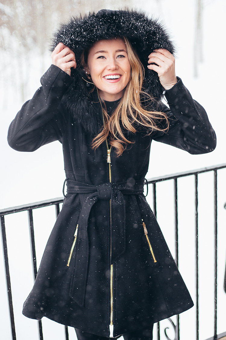 faux fur skirted coat, laundry coat, black aline coat, cute snow outfit
