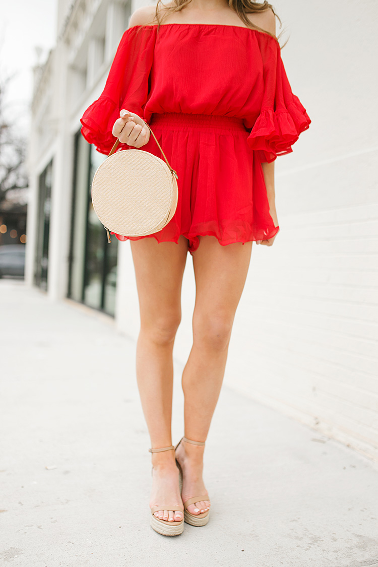red off the shoulder romper