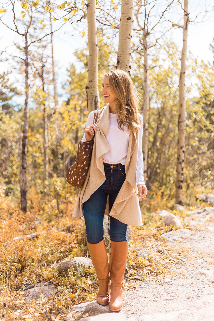nordstrom essentials vest, tory burch brooke tan riding boot, barrington st. anne axis print tote