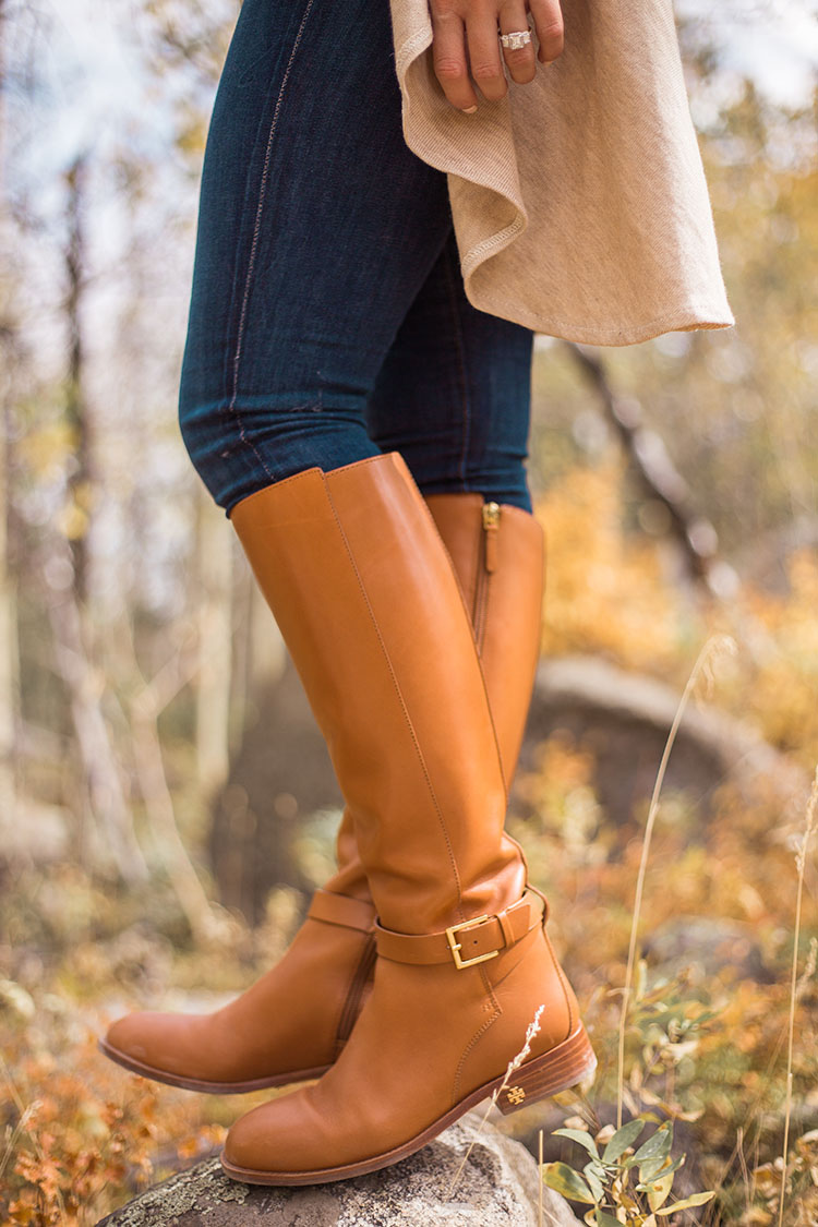 nordstrom essentials vest, tory burch brooke tan riding boot
