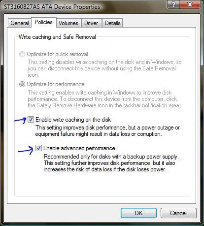 Disk Drive Advanced Properties