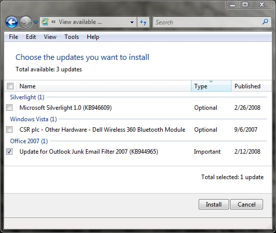 Windows Update Showing Optional Silverlight Package