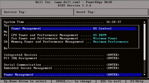 Dell R610 Bios 1.3.6 - Power Management