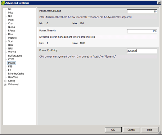 vSphere Advanced Settings - Power