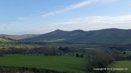 Looking across to the Great Ridge from the Pennine Way path through the Vale of Edale