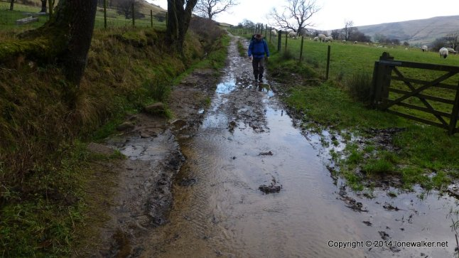 Its a bit wet down in the valley with lots of water running on the paths