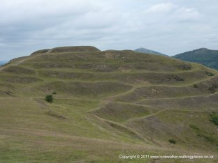 Herefordshire Beacon with the old ramparts of the Hill fort