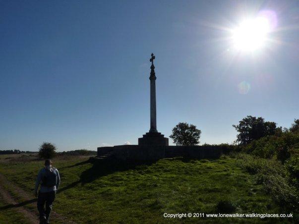 The Crimean War memorial beside the path
