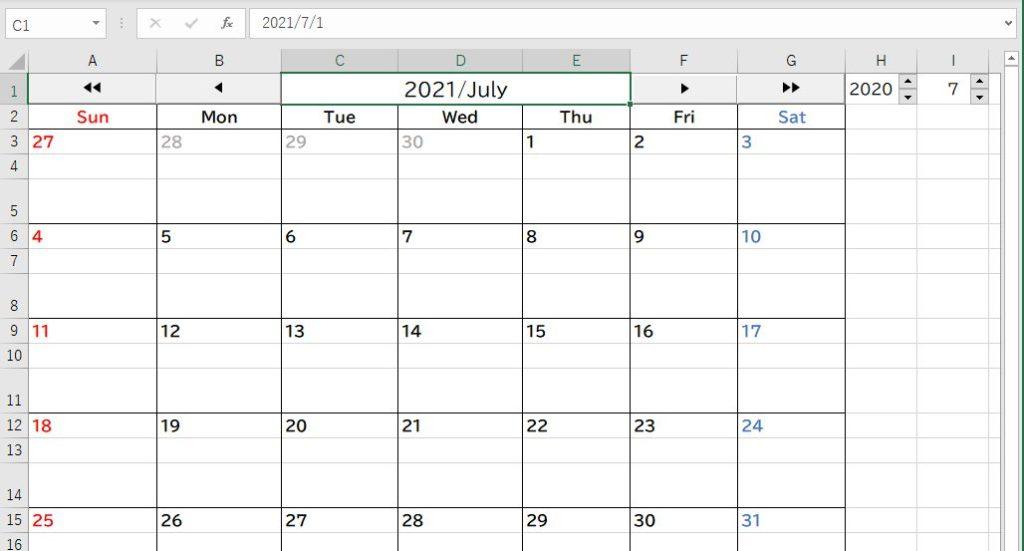 1年後のカレンダーにジャンプ