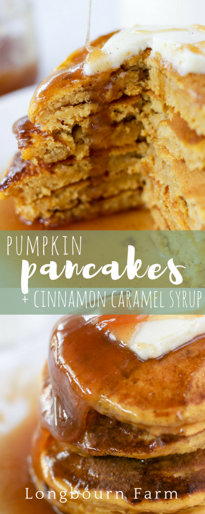 This pumpkin pancake recipe is light, fluffy, and full of pumpkin flavor! Topped with cinnamon caramel syrup, these pancakes are full of Fall flavor!