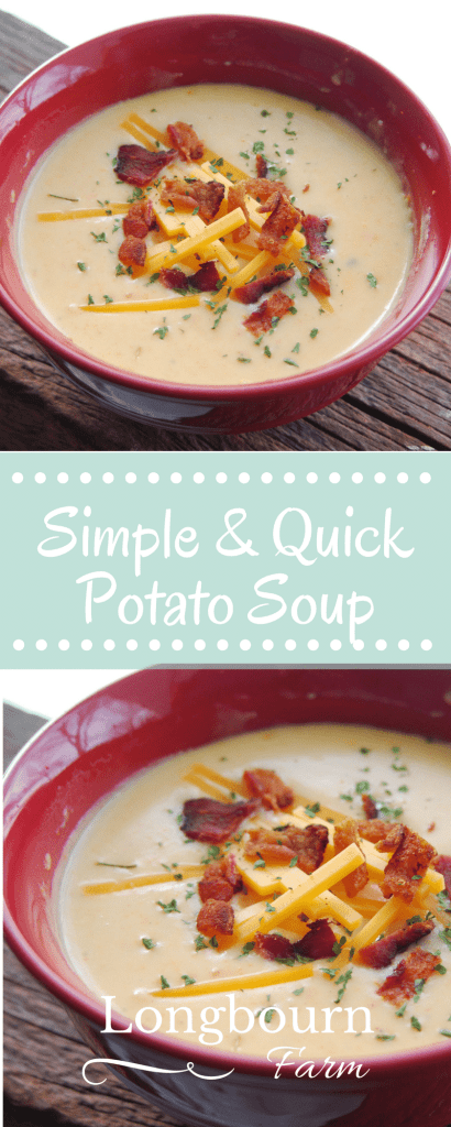 This simple and quick potato soup recipe is absolutely delicious. It's easy and quick to put together and definitely a meal the whole family will love!