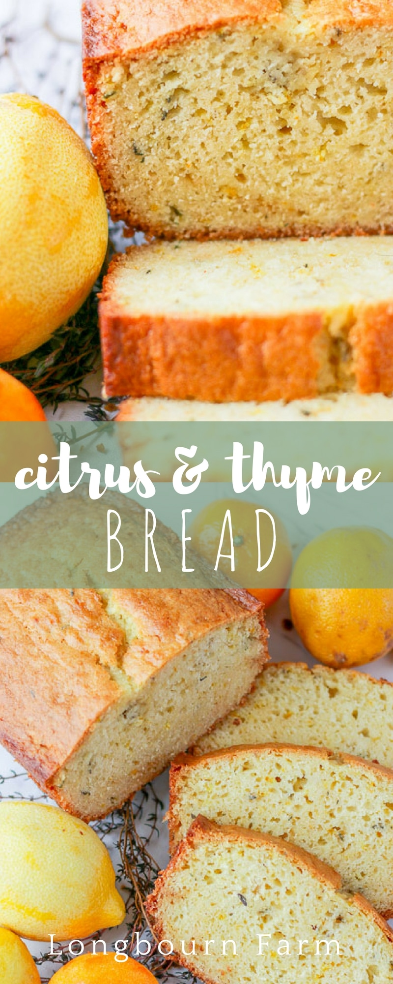 Citrus thyme bread is a fresh twist on a classic sweet bread. Quick to make, it's worth every minute of baking time! Packed with citrus flavor, customize it to your taste.