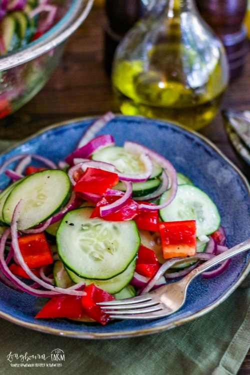 Close-up, side view of easy cucumber salad recipe on a blue plate.