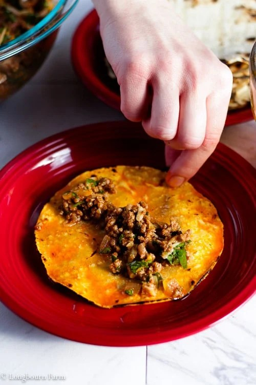 The right amount of filling for this beef enchilada recipe.
