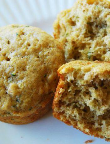 Cut in half best zucchini bread muffin, far-off.