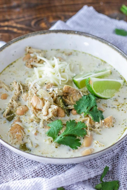 Bowl full of slow cooker white chicken chili.