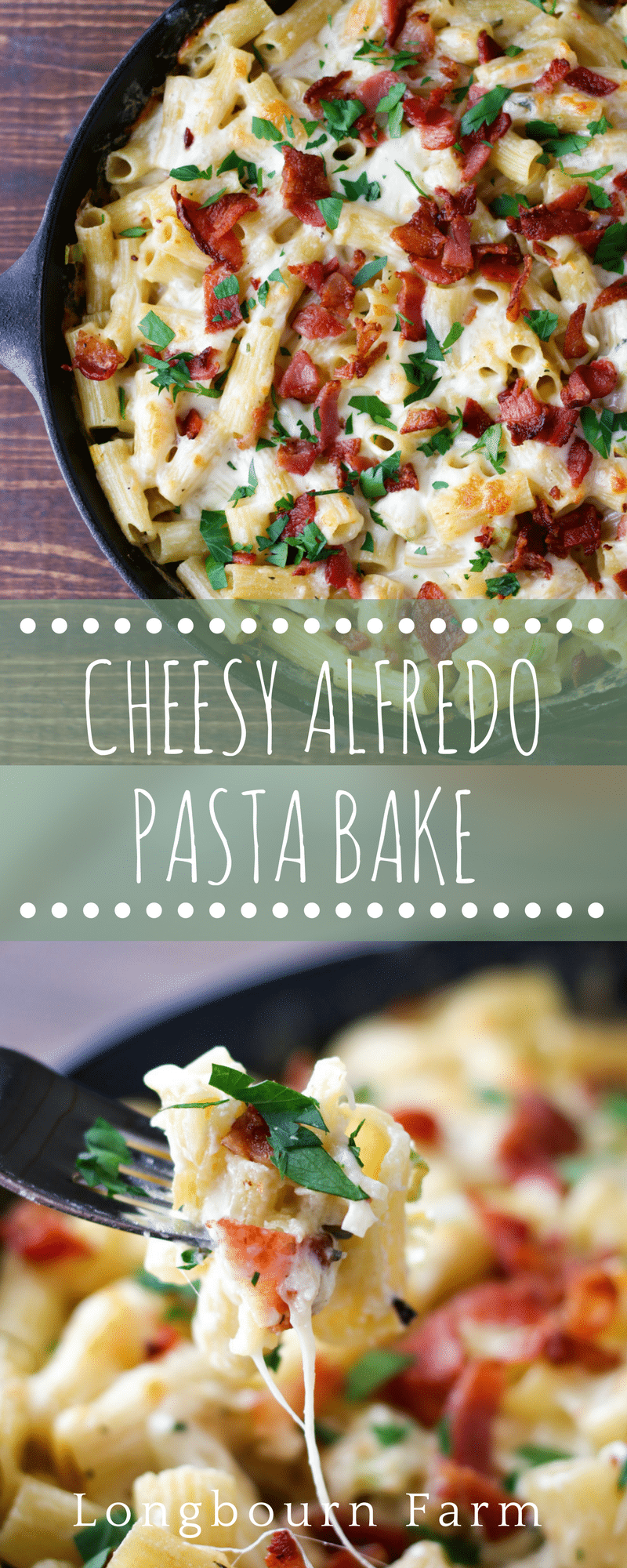 This cheesy alfredo pasta bake recipe is made all in one skillet and only takes 25 minutes to make. Bubbly cheese outside, creamy cheesy pasta inside.