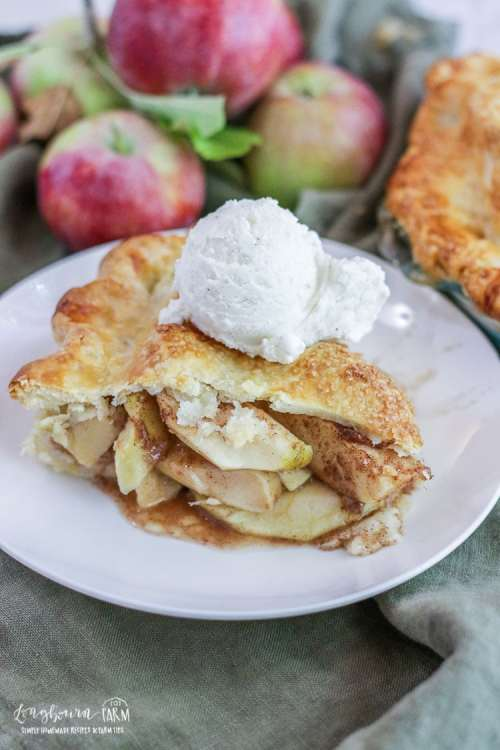 Slice of homemade apple pie on a white plate topped with vanilla ice cream.