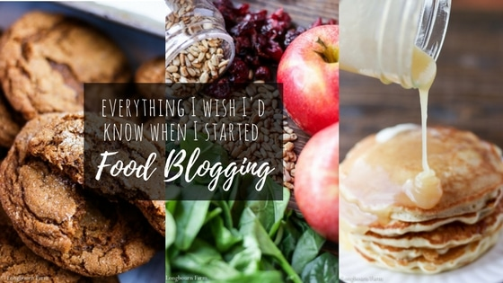 Title image for food blogging resources page, three images (molasses cookies, salad ingredients, and butter syrup) overlaid with the page title text.