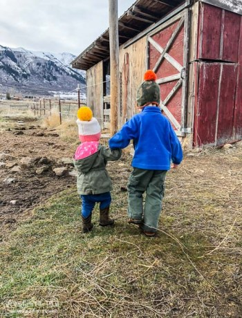 Abram and Aspen holding hands walking towards the chicken coop.