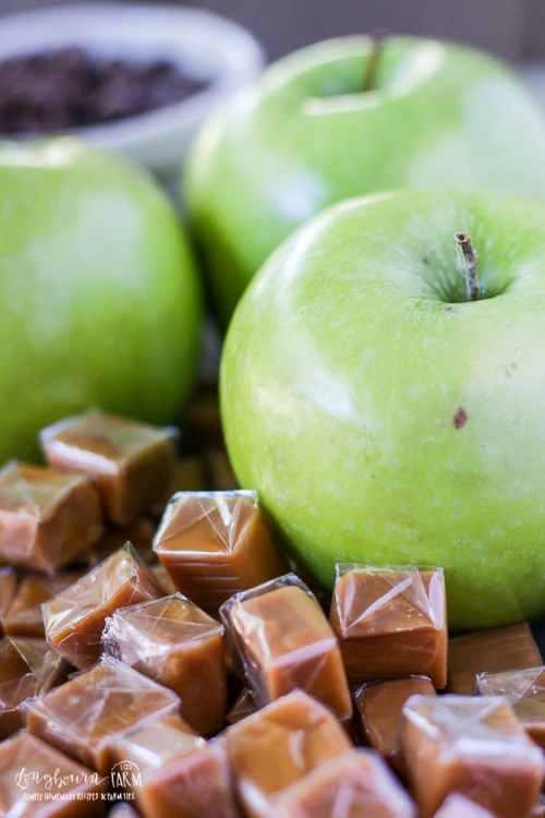 Close-up of an apple next to caramel pieces.