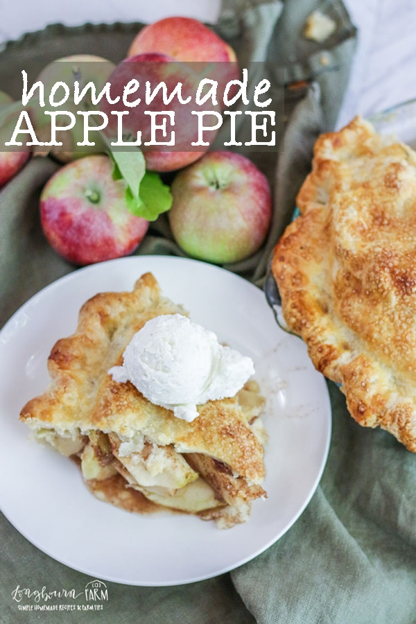 Homemade apple pie can sound intimidating but it really isn't complicated. This homemade apple pie is simple but delicious and the perfect dessert any time of the year.Homemade apple pie is great for Thanksgiving or Christmas. Homemade apple pie isn't hard and this recipe is easy with step-by-step directions! #homemadeapplepie #applepie #longbournfarm #homeamdepie #piefromscratch #easyapplepie #applepiefromscratch