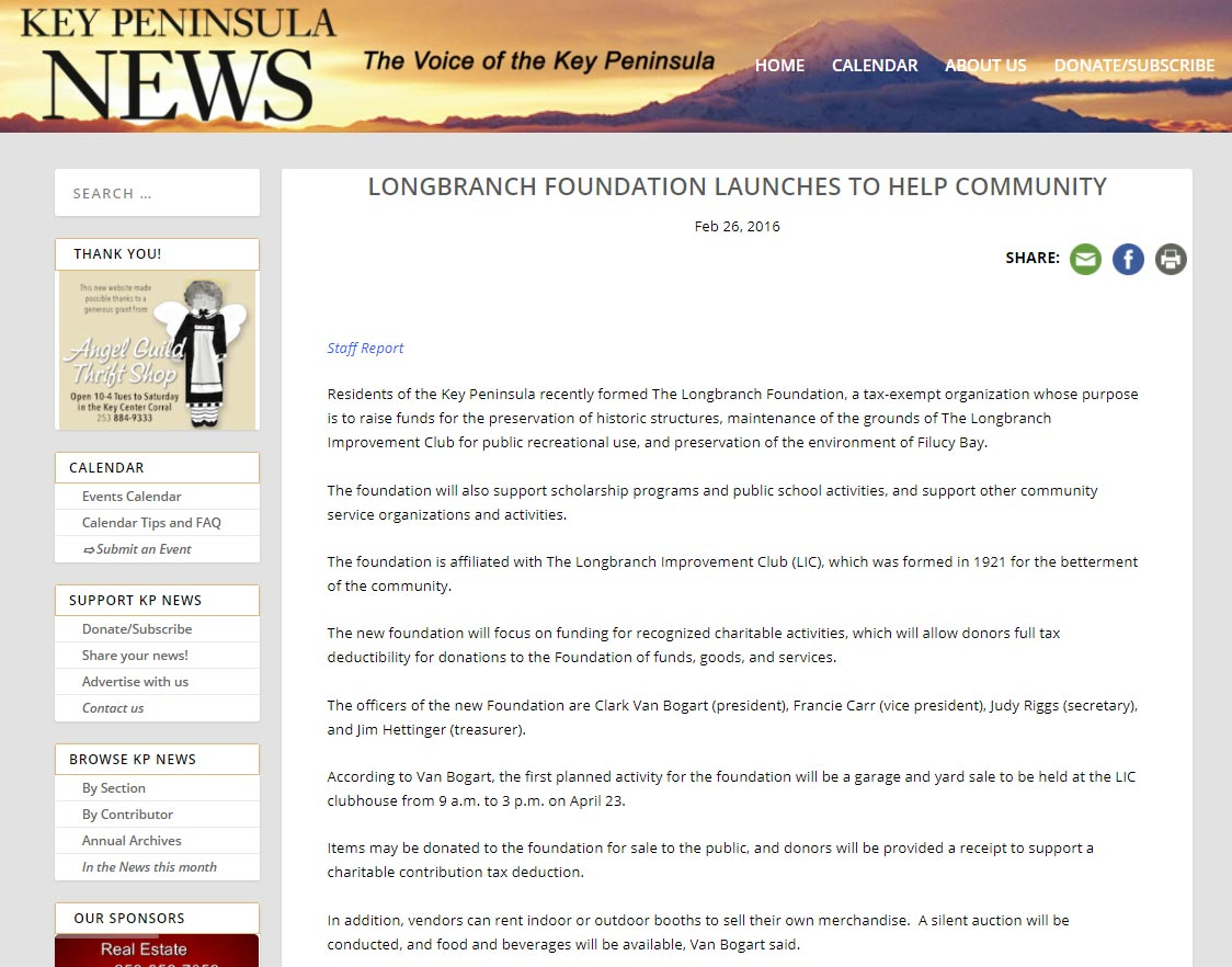 The Longbranch Foundation featured in the February 26th, 2016 edition of the Key Peninsula News.
