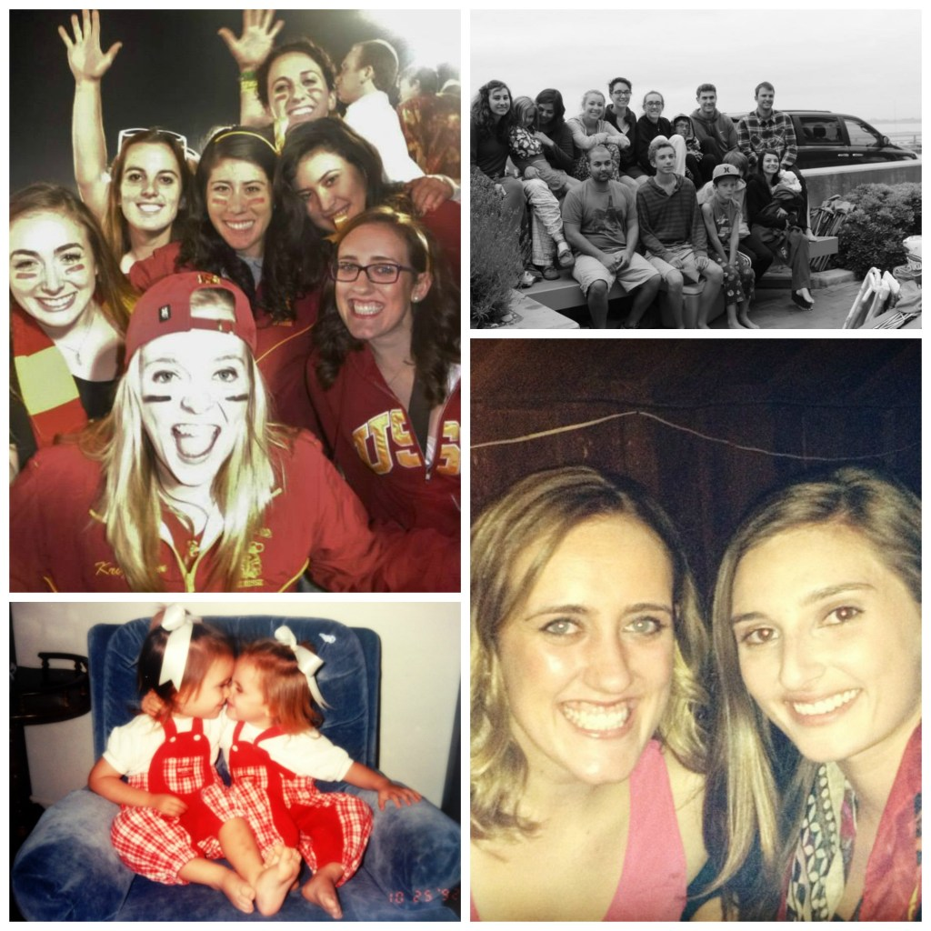 Top Left: SC Homecoming 2013 w/AXO sisters; Top Right: My cousins at the Beach House; Bottom Left: My and twin back in the day; Bottom Right: Me and my best friend, Katie