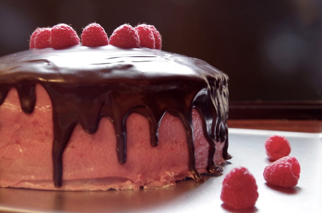 Red Wine Chocolate Cake with Raspberry Buttercream