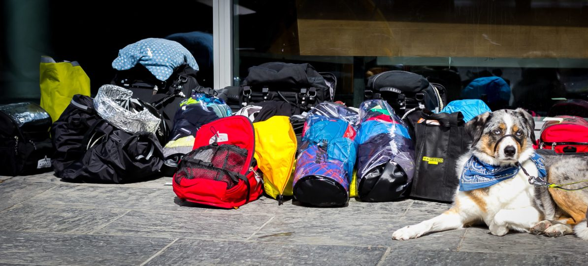 All of our backs and bike gear upon arrival in Oslo.