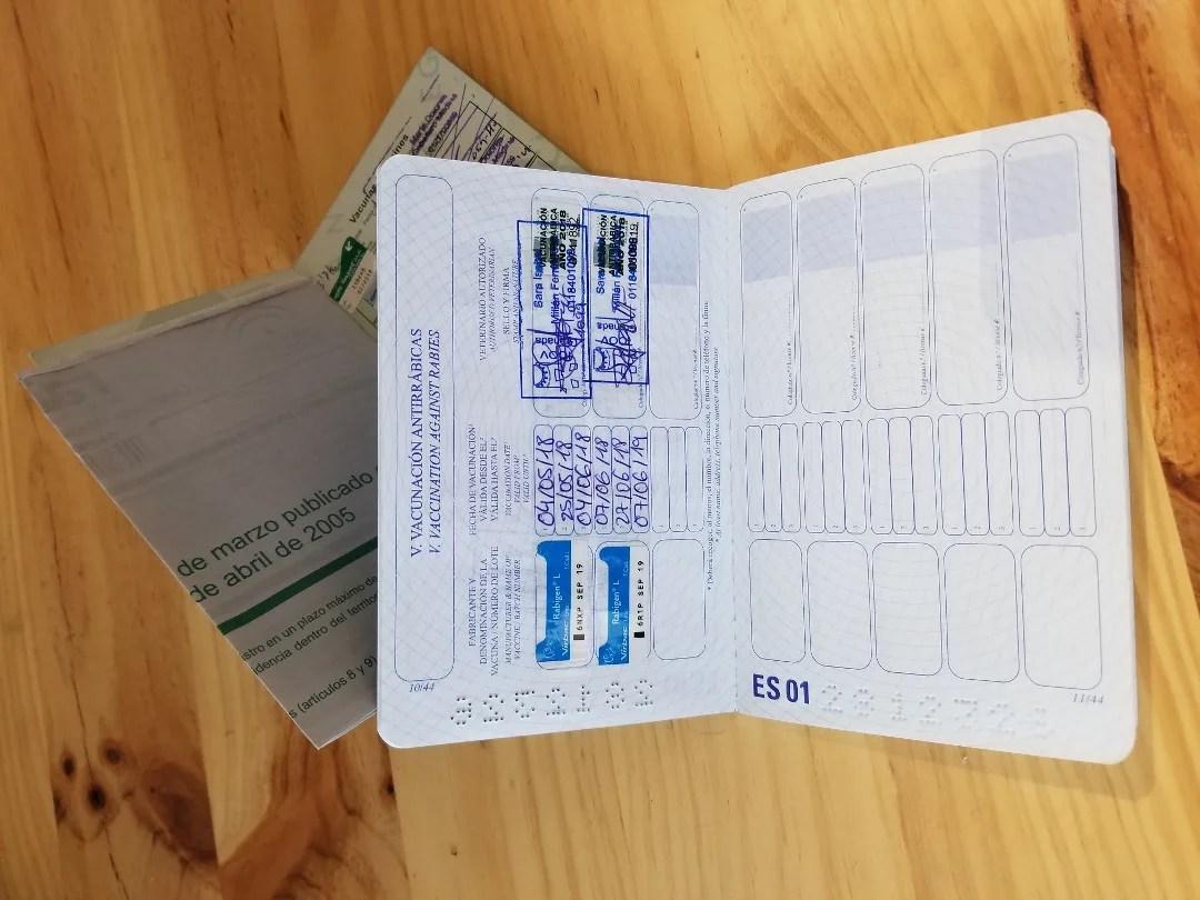 Upclose view of Laila's EU Pet Passport