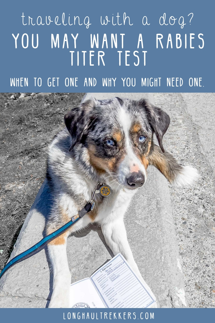 If you travel internationally often, you may want to consider ordering a titer test for your dog or cat.