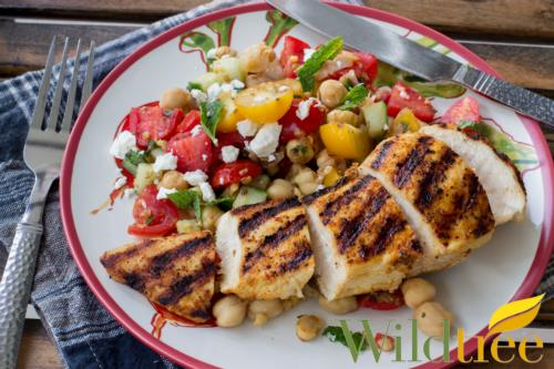 Grilled Rodeo Chicken with summer salad