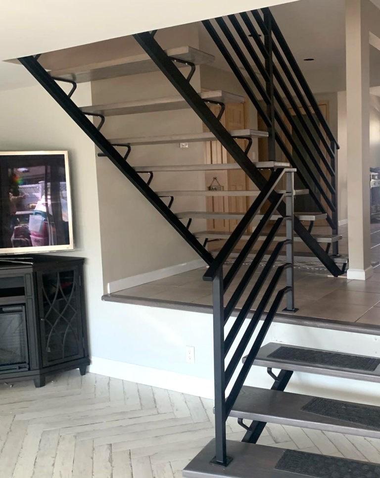 Long Island Stair Railings Gallery Long Island Custom Railings | Black Aluminum Stair Railing | Interior | Classic | Simple | Square Metal | Pressure Treated Deck Black