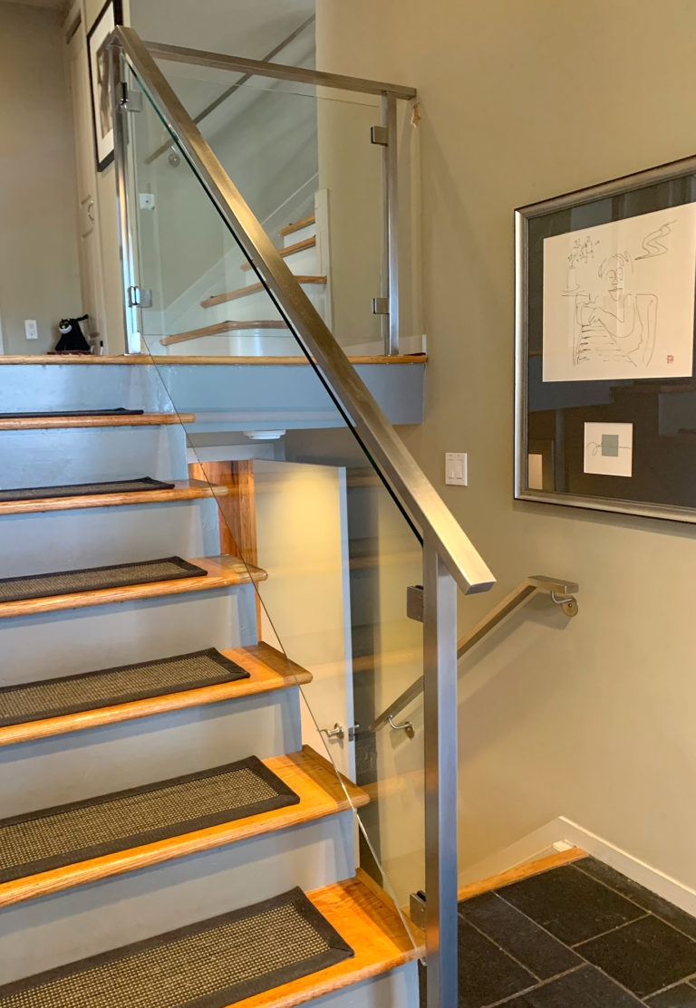 Long Island Stair Railings Gallery Long Island Custom Railings   Staircase Steel Railing Designs With Glass   Banister   Duplex   Button Glass   Exterior Perforated Metal   Glass Balustrade Wood Post