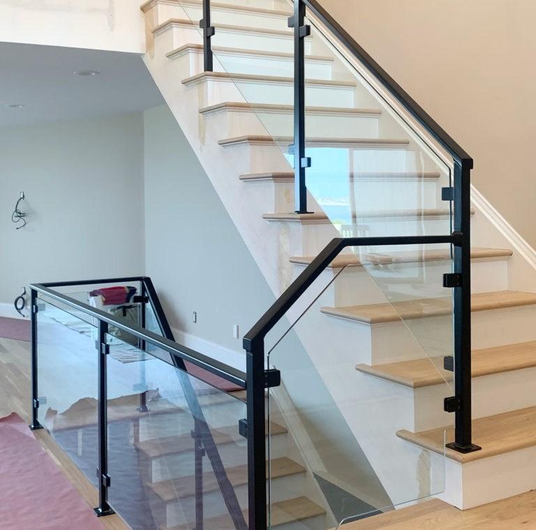 Long Island Stair Railings Gallery Long Island Custom Railings | Tempered Glass Stair Railing | Made Glass | Wood | Step | Indoor | Glass Design