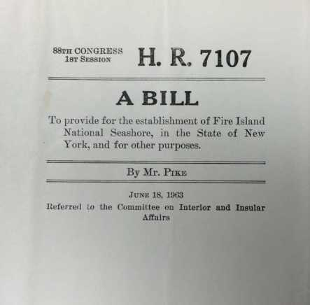 House Bill for FINS introduced by Otis Pike. Image courtesy of the Barbash Family.