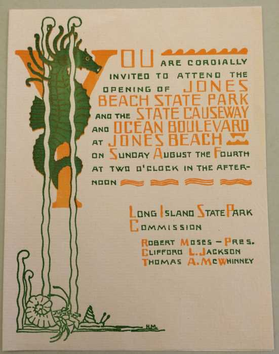 Invitation to the opening of Jones Beach n 1929. Photo courtesy of the Barbash Family.