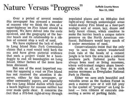 Suffolk County News editorial against the road by Joe Jahn.